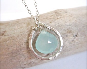 Ocean Blue Chalcedony Sterling Silver Necklace, teardrop necklace, bridesmaids necklaces, elegant, dainty, wedding, made in hawaii, tidepool