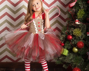 Gingerbread Girl Tutu Dress and Legwarmers- sz 0-5T