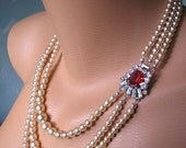 Ruby And Pearl Necklace Red Rhinestone Choker Vintage Bridal Jewelry Great Gatsby Art Deco Mother Of The Bride Pearl Choker Red Necklace