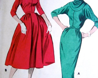 UNCUT * 1950s  Butterick  Pattern 8311  - Two-Skirted Day or Evening Dress with Yoked Cowl Neckline   - Size 14..bust 34