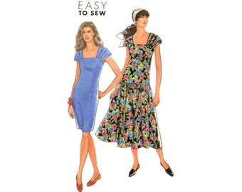 1990s Easy Summer Dress Pattern Drop Waist or Sheath Dress Gathered Straps Simplicity 7325 Bust 38 40 42 44 46 Plus Size Vintage Sewing