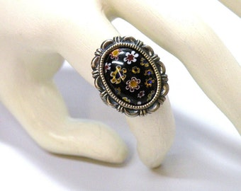 Gothic Victorian Style Ring Millefiori Little Flowers Cabochon Handcrafted Jewelry Adjustable Finger Ring Size 6 to 8