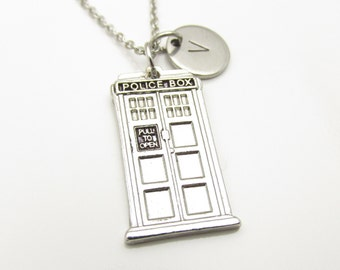 Tardis Necklace and Initial, Silver Tardis Charm, Doctor Who Fan Art, Police Box Pendant, Personalized Stamped Initial Monogram (Y069)