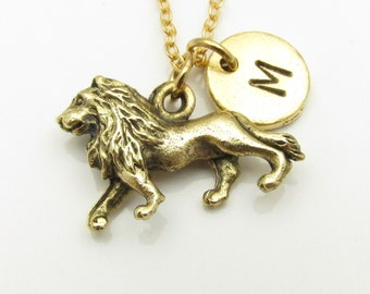 Lion Necklace, Gold Lion Charm, Initial Necklace, Personalized Stamped Initial, Animals and Nature Charm, Monogram Necklace Z030