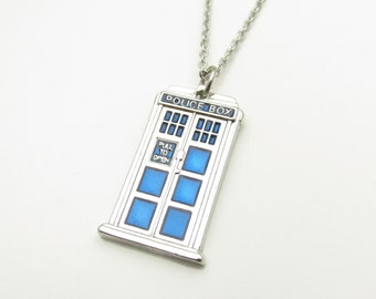 Blue Police Box Necklace, Police Call Box Necklace, Stainless Steel Chain A001