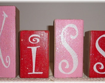 Valentine Blocks Kiss Wood Set Pink And Red With Glitter