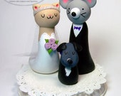 Couples Choice ANY ANIMALS Bespoke Wedding Cake Topper - Your Choice of Animals - Fully Customizable - Handmade by The Happy Acorn