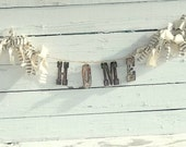 Home Decor Banner,  Rusty Metal Banner, Shabby Home Banner, Rustic Decor, Unique Christmas Gift, Country Banner, Homespun garland