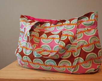 Purse or Project Bag with Bold Wave and Stripe Pattern