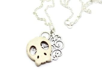 White Sugar Skull Necklace, Silver Filigree Necklace, Monster Necklace, Howlite Skull Necklace, White Skull