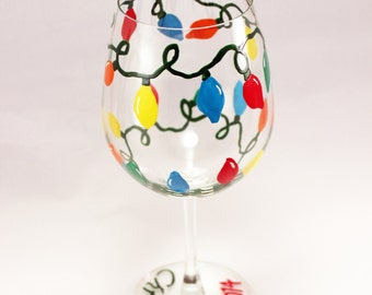 Christmas tree lights hand painted wine glass - retro string of lights - holiday glassware - single glass