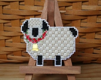 Little Lamb Cross Stitched and Beaded Ornament, Magnet, or Pin - Free U.S. Shipping