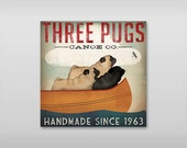 CUSTOM THREE PUG Canoe Ride Gallery Wrapped Canvas Wall Art - Ready-to-Hang Canvas Signed