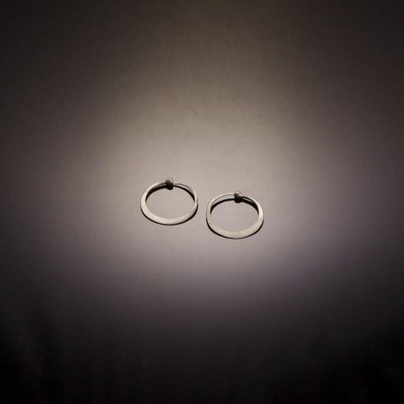 Minimalist Silver Hoop Earrings  // Tiny Matte Finish Hoops