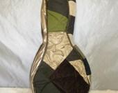 A Style Mandolin Case - Beginner Case - Gig Bag in Green Kakhi and Brown Woodland Patchwork Gig Bag Musician Gift PIF