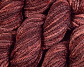 Hand Dyed Yarn - Bulky Weight Superwash Merino Wool Yarn - Damson Plum - Knitting Yarn, Wool Yarn, Bulky Yarn, Red Purple, Yarn Gift