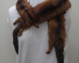 Vintage Dark Brown Mink Pelt Stole Wrap