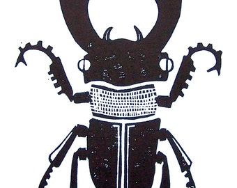 LINOCUT PRINT - Stag Beetle BLACK 8x10 poster on cotton paper - Machine insect beetle