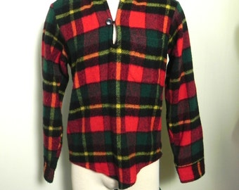 Vintage 1940s 50s Mens Wool Shirt - Cool 40s 1950s Wool Tartan Pull-over Top Loop Shirt - on sale