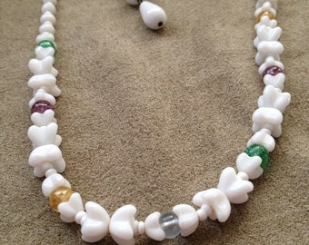 White Milk Glass Choker Necklace Purple Green Yellow Accent Beads