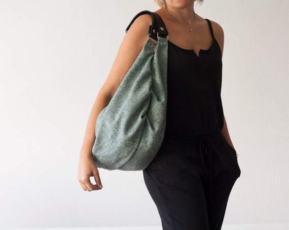 Cyber Monday sale - Hobo slouchy bag in mint green wool and black leather,weekend bag,everyday purse,shoulder bag,gym bag - Kallia bag