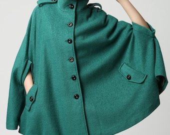 Teal Cape Coat,wool cape, Turquoise wool coat, Winter Poncho, women ponchos, Military coat, cloak, Custom made clothing,Gift for her (1129)