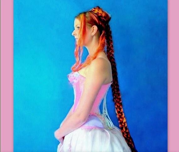 long Medieval Renaissance hair accessory extension SCA handmade garb braid plait hair fall princess costume wig Long braided plaited custom