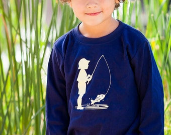Fishing Frenzy Long Sleeved Crew by Nostalgic Graphic Tees in Navy/Khaki