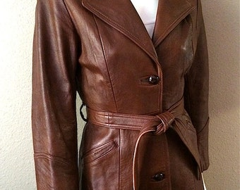 Vintage Women's 80's Leather Jacket, Brown, Full Length, Coat by Llyods (S)