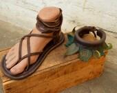 COMBO Womens Maori Sandal & Ankle Leaf Wrap / Leather Adjustable Women Lace Up Sandals Renaissance Water Minimalist Light Durable