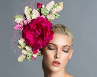 Fuchsia-Green-Pink fascinator, Headpiece, Derby Fascinator- Spring Hat