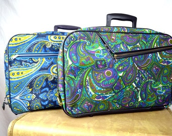 LOT OF TWO Vintage 1960s Flower Power Paisley  Mod Mini Floral Suitcase