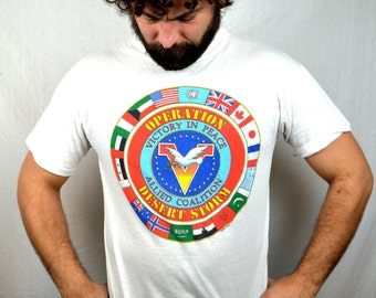 Vintage 1990s Iraq War Saddam Hussein - Operation Desert Storm Peace Flags USA Tee Shirt - NEON