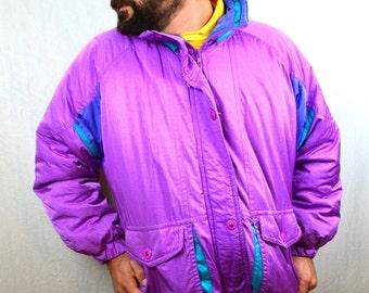 Vintage 80s Puffy Ski Rainbow Jacket Winter Snow Coat