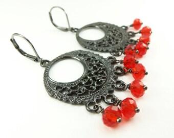 Red Chandelier Earrings Red Crystal Earrings Dark Silver Gunmetal Leverback Red Earrings Beaded