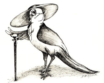 Fine Art Print titled- This Bird Chirps For Seed- Original is Ink on Paper Pen and Ink Black 'N' White Cartoon Disney-like Style