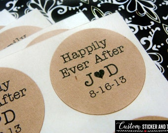 happily ever after stickers, personalized with your initials and date, custom stickers, envelope seals, kraft labels, favor stickers (S-46)