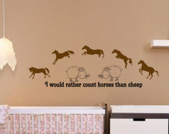 Horse decal, Nursery quote sticker, sheep decal, childs room decor, pony, 16 X 48 inches