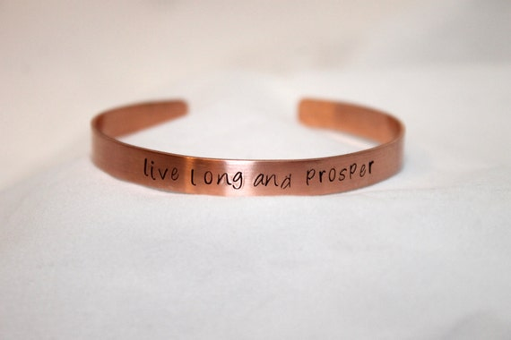 Live Long and Prosper Bracelet, Trekkie, Hand Stamped Bangle, Copper Jewelry