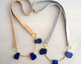 Lapis Lazuli Long Leather Necklace