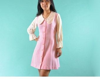 60s Mod Dress / Vintage 1960s Twiggy Mini Dress / Pink A Line Lace Sleeves Mod Mini Dress / Retro Mod Collar Boho Mini Dress S