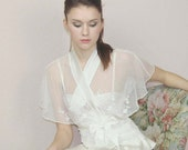 embroidered lace jacket with flutter sleeve and silk bands - HEIRLOOM lace - made to order