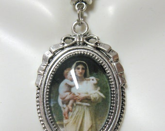 Lambs by William Adolphe Bouguereau pendant with chain - AP05-125