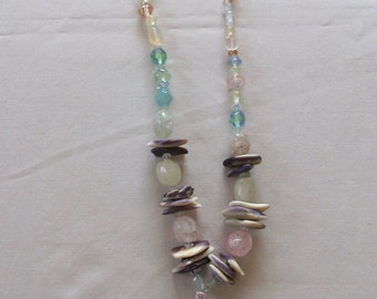 indian made wampum chakra necklace with colorful gem stones