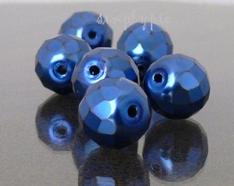 BLue Carmen Czech Fire Polished Beads 12mm 6 Faceted Round Glass