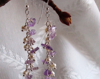 Chipped Amethyst and White Pearl Wire Wrapped Cascade Sterling Silver Dangle Earrings