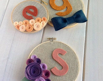 Personalized Custom Girls Flower Bunch // Embroidery Hoop // Wall Decoration