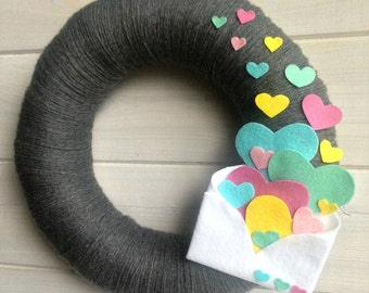 Yarn Wreath Felt Handmade Door Decoration - Sending My Love 12in