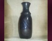 Vintage Black Amethyst Art Glass Vase / Hand Blown Dark Purple Art Glass Vase