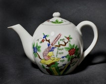 MCM Japanese Hand Painted Teapot / 1960s Small Porcelain Teapot with Peacock and Bamboo